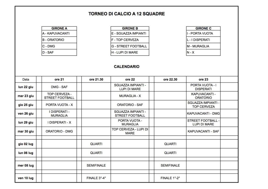 calendario torneo di calcio 2015